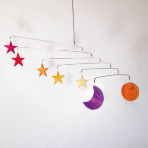 Wooden Sun Moon and Stars Mobile