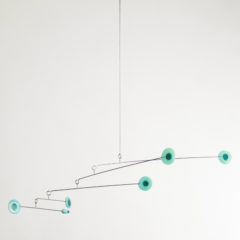 """Serene Green Dots"" Sculptural Glass Mobile"