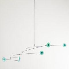 """""""Serene Green Dots"""" Sculptural Glass Mobile"""