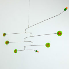 """Green-Tangerine"" Sculptural Glass Mobile"