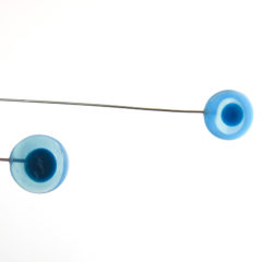 """Blue Peacock"" Sculptural Glass Mobile"