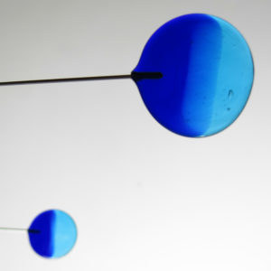 Cobalt and Turquoise Sculptural Glass Mobile