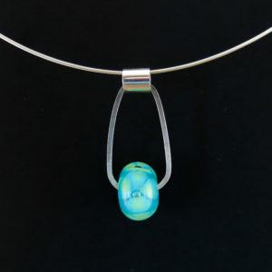 Silver Choker with Blue-Green Flower Bead